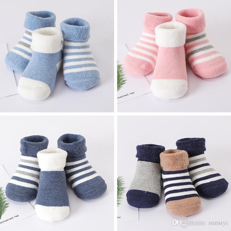 9fea29e2423a7 2019 зима Терри полосы толстые теплые детские носки новорожденных милый  ребенок трубки носки хлопка детей носки