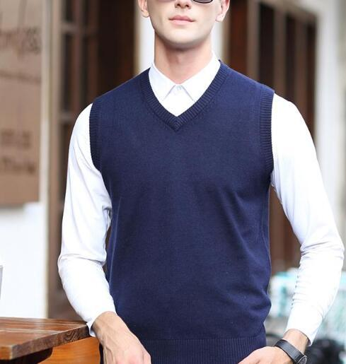 ab9babebe8778 2019 Latest Design V Neck Solid Color Mens Sleeveless Knit Cashmere Sweater  Vest From Yaojao