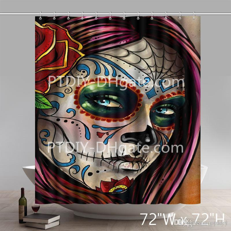 2019 Liberty Art Design Flower Sugar Skull Shower Curtains From Ptdiy1 2136