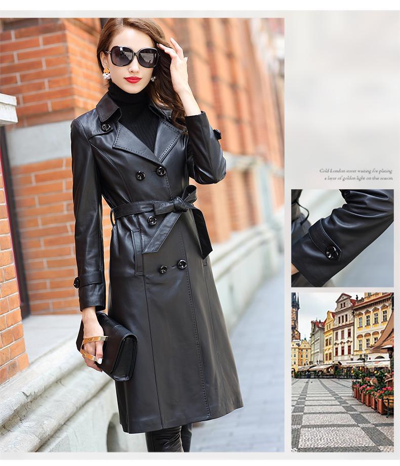 9fbb985e9d Acheter Véritable En Cuir Trench Coat Femmes Plus La Taille 4XL Longs  Manteaux Dames En Peau De Mouton Automne Winte Noir En Agneau Trench Coats  Femme De ...