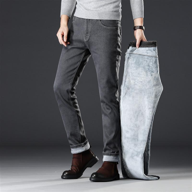 2019 Winter Thicken Fleece Warm Men Elasticity Slim Straight Jeans classic Business Casual Smoke gray Velvet Denim Cargo jeans