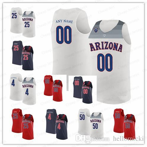 premium selection cb2e3 feab7 Custom Arizona Wildcats Jerseys 25 Steve Kerr 4 T.J. McConnell 50 Tyler  Trillo Customized College Basketball Stitched Jersey
