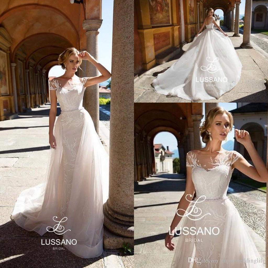 10ff77b430 Discount Elegant Ivory Capped Sleeves Lace Wedding Dresses 2019 Short  Sleeves Lace Appliqued Tulle Summer Beach Wedding Bridal Gowns BC1312  Online Dresses ...