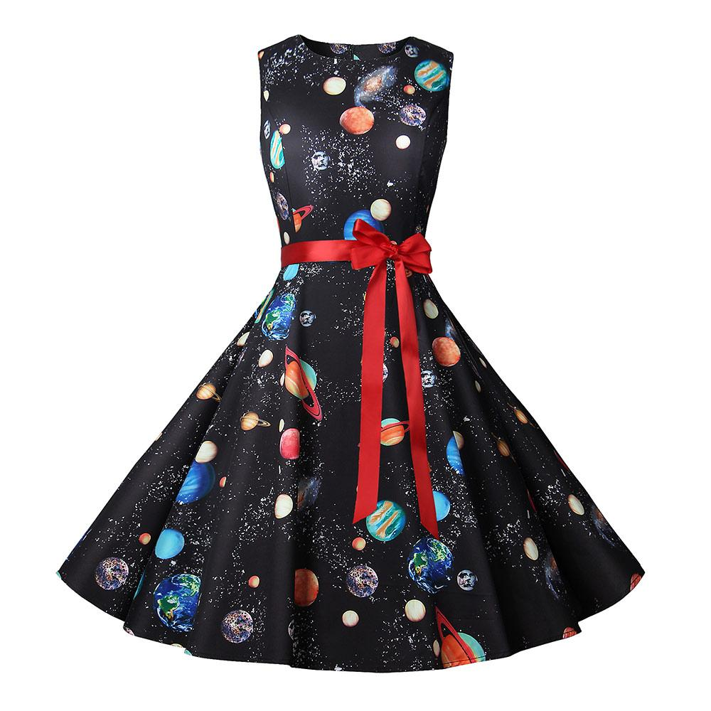 5c8cfd8b32a2 Summer Dress Women New Cosmic Planet Print Vintage Dress With Belt  Sleeveless Elegant Party Retro Dresses Sundress Vestido Green Dress Juniors Long  Dress ...
