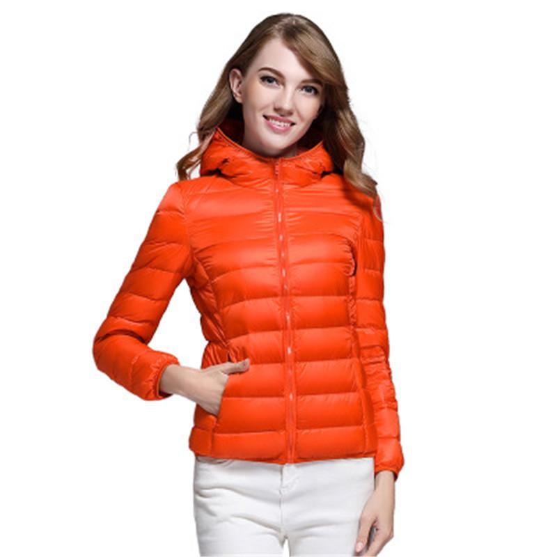 d492c3805 Autumn winter leisure basic models ladies Lightweight down jacket wild warm  hooded pocket design women jacket loose large size
