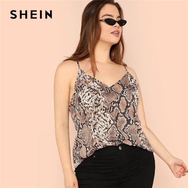 3ecb1f791192a7 2019 SHEIN Plus Size Snake Skin High Street Women Camis Sleeveless  Spaghetti Strap Tops From Shengui, $42.25 | DHgate.Com