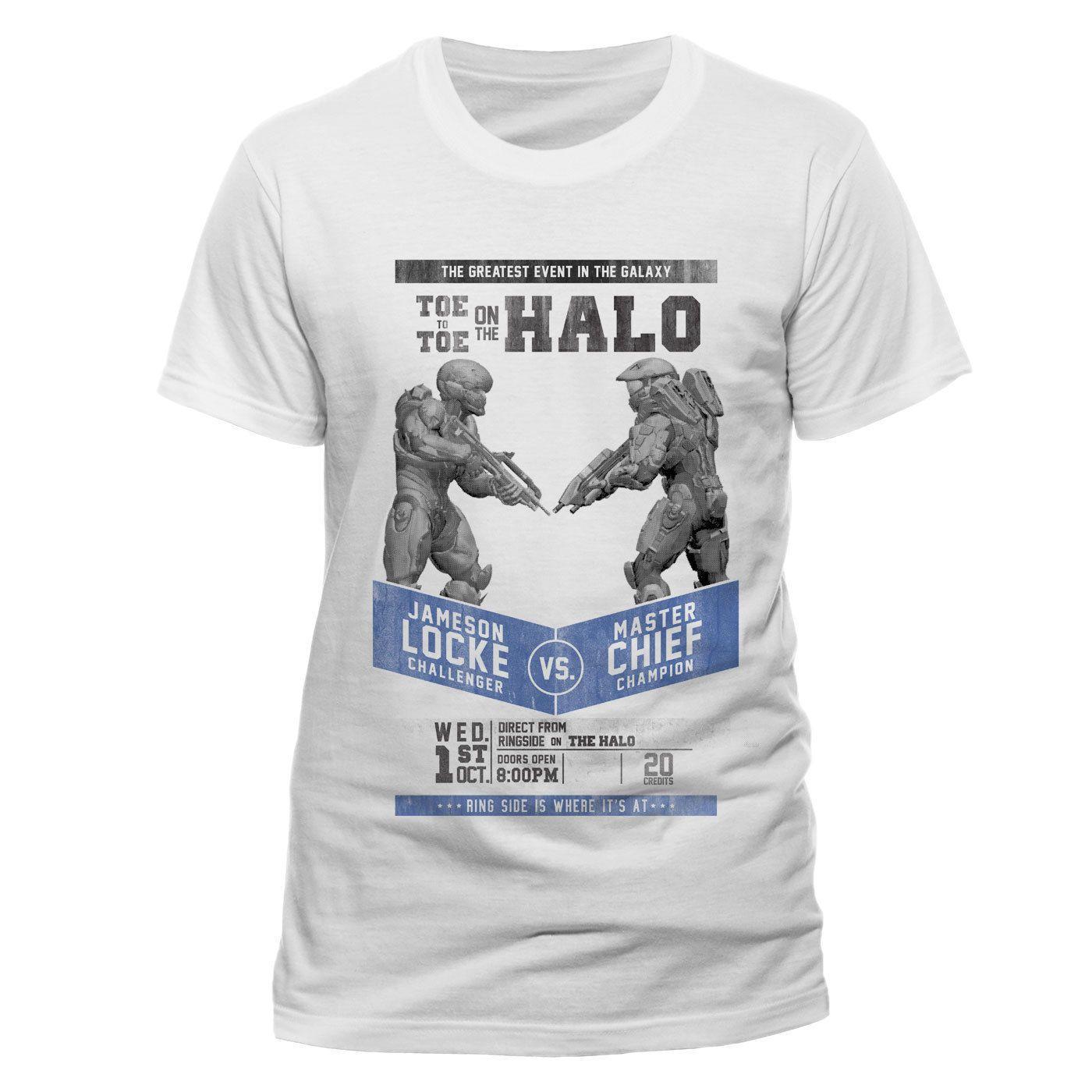 Halo 5 Maestro Jefe Fight Póster Camiseta Oficial Algodón Blanco Unisex -  LOCKE Funny free shipping Unisex Casual Tshirt