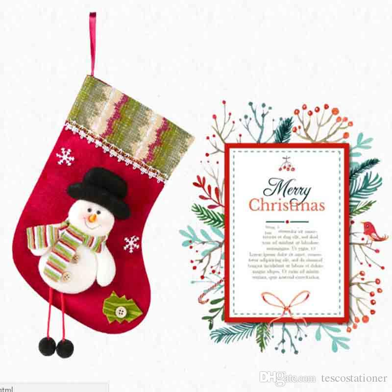 New High Quality Canvas New Christmas Tree Decoration Christmas Socks Hanging Christmas Snowman Gift Bags For Festival