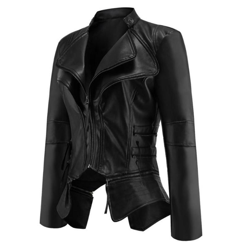 bdc6ebc3d European and American Short Collar PU Leather Jacket Coats Spring and  Autumn Fashion Punk Fan Car Pu Jackets Coats Black S-XXXL