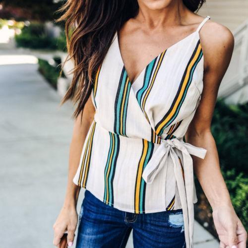 d2a55027586f8 2019 Good Quality 2019 New Women Summer Tank Tops V Neck Striped Shirt  Ladies Sleeveless Casual Tee Top From Jamie14