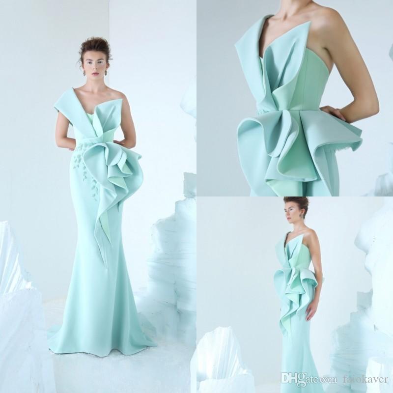 Compre 2019 Azzi Osta Light Blue Vestidos De Baile Un Hombro Satén 3D  Floral Apliques Sirena Vestido De Noche Vestidos De Fiesta Formales Hechos  A Medida A ... 55cb7d6526d8