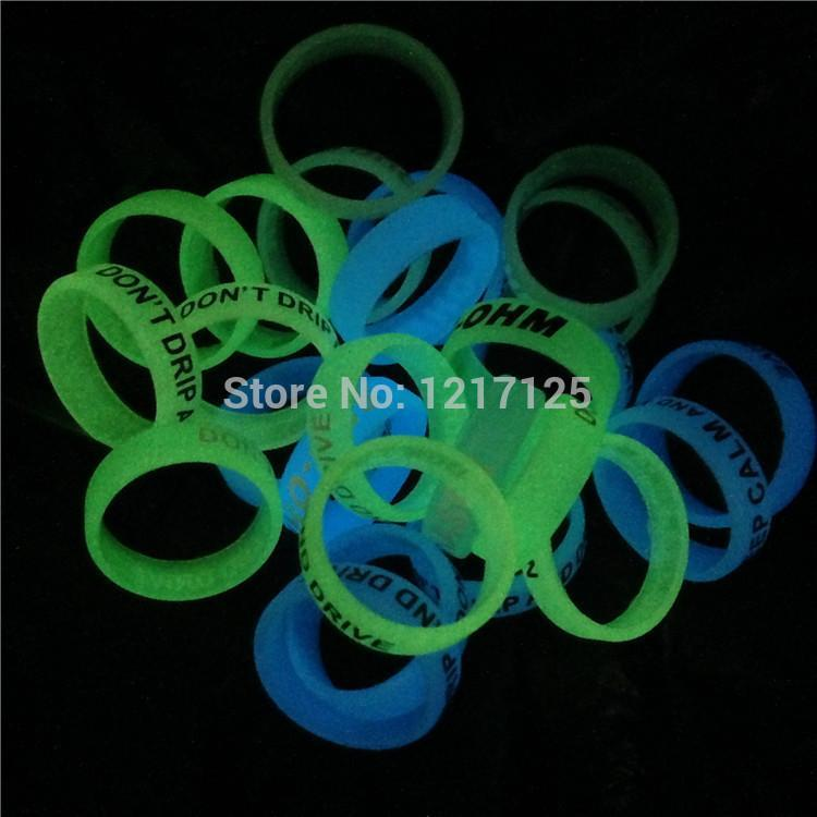 200pcs Glow In The Dark Vape Bands Rubber Silicone Ecig Vape Ring Mechanical Mods RDA RBA Mahattan Apollo Subtank atlantis v2