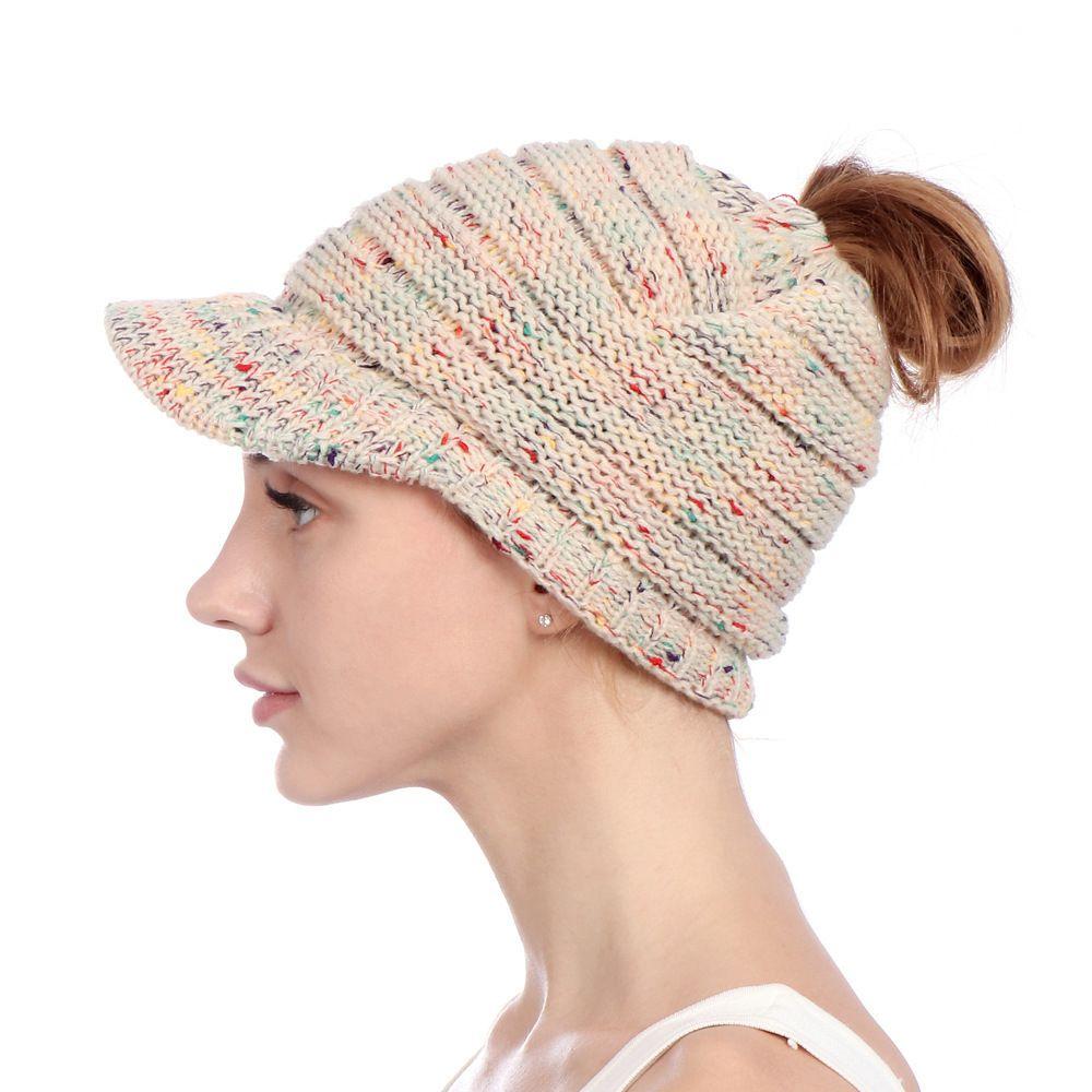 4243da8352139 Wish / Ebay European Men And Women Autumn And Winter Idea Hat Along  Knitting Ponytail Hat Air Top Wool Set Head Cap Outdoors Winter Hats Beanie  Hats From ...