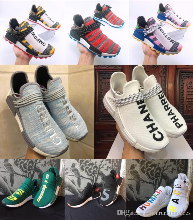 65e88686d1 Human Race Trail Designer Shoes Men Women Pharrell Williams HU Runner Yellow  Black White Red Green Grey Blue Sport Runner Sneakers Mens Boat Shoes Boat  ...