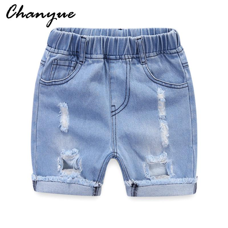 7272bb14d3 Chanyue Denim shorts Girls & Boys Ripped Jeans Spring Summer Fall Style  2018 Denim Trousers For Kids Children Hole Pants