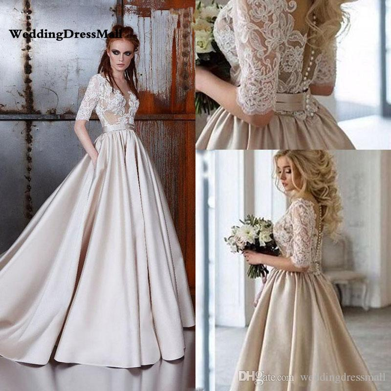 Discount Vintage Lace Champagne Wedding Dresses 2019 Sheer