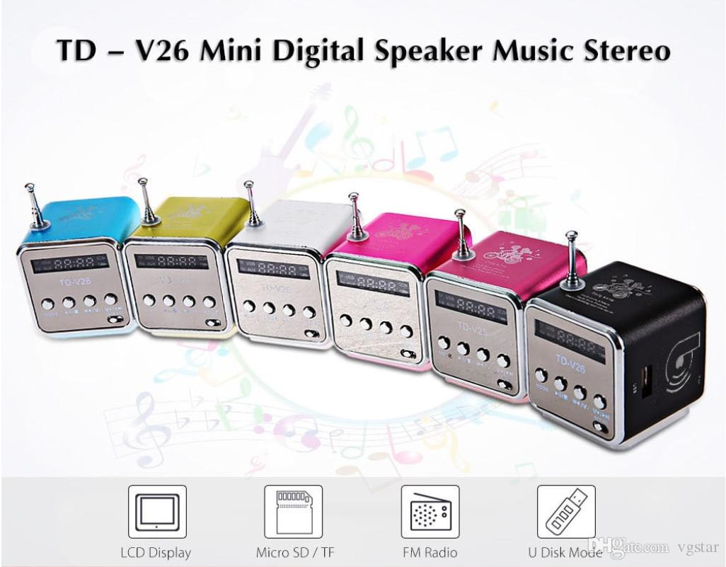 Portable TD-V26 Digital FM Radio Speaker Mini FM Radio Receiver With LCD Stereo Loudspeaker Support Micro TF Card