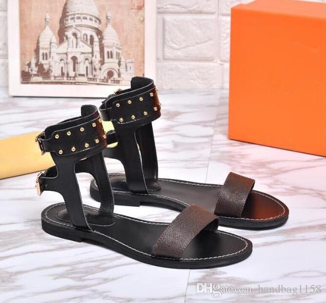 c337fd0a115 Newest Luxury Women Popular Leather Sandal Striking Gladiator Style  Designer Outsole Perfect Flat Canvas Plain Sandals Luxury Flat Sandals  Online with ...