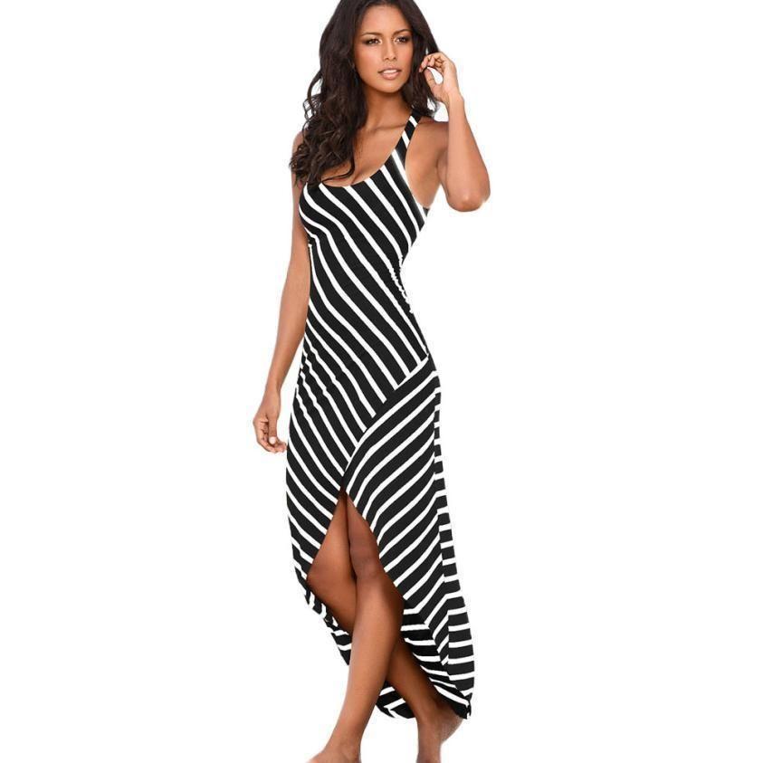 buy online ae451 96b92 Vestito lungo casuale dalle donne Estate strisce in bianco e nero senza  maniche Vestiti dal carro armato comodo vestito da spiaggia irregolare  Vestido ...
