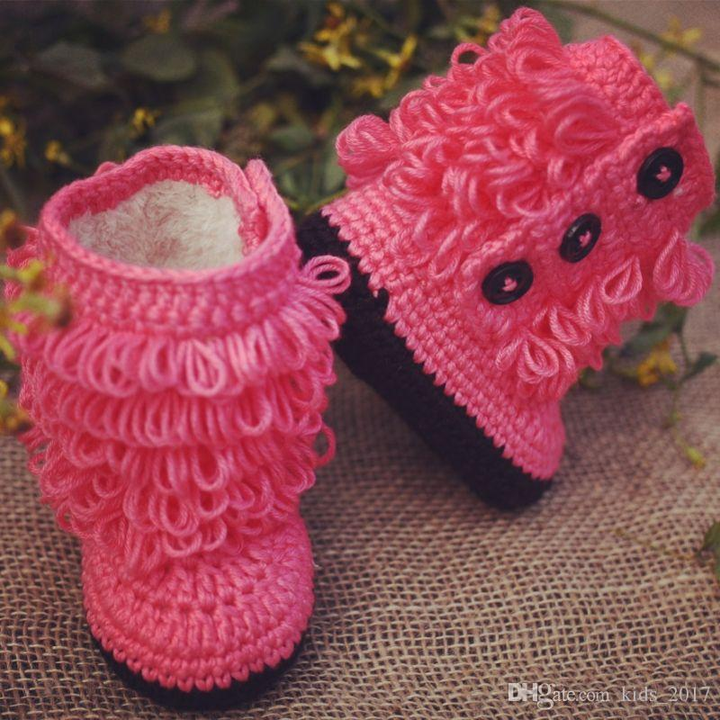 Baby Girls Shoes Booties Handmade Wool Knitted Thicken Tassel Boots Baby Kids Toddler Cotton Shoes First Walkers
