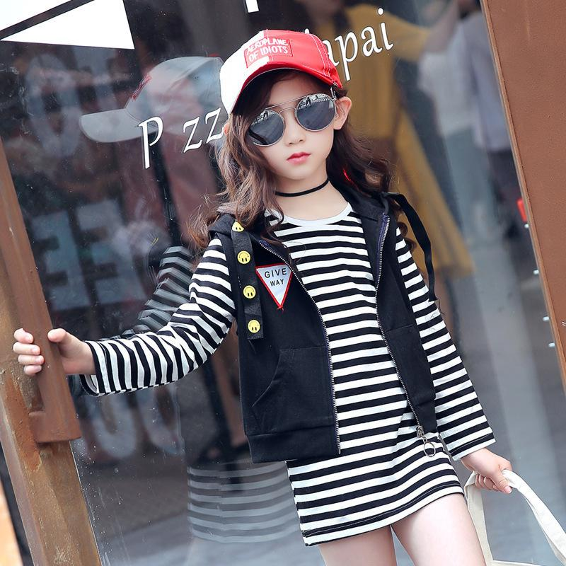 cf4279ae77f521 2019 Baby Girls Clothing 2019 Spring New Style Girls Fashion Stripe Long  Sleeved T Shirt + Vest Leisure Trend Two Piece From Xiaocao03, $41.05 |  DHgate.Com