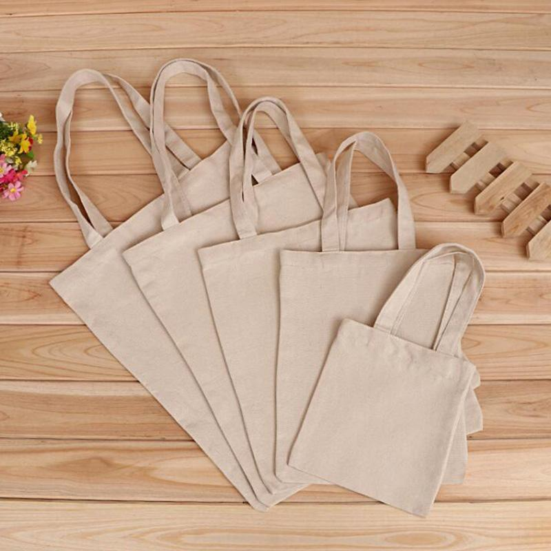 5 Sizes Pure Color Linen Grocery Foldable Bag Shopping Storage Reusable Eco Tote Bag Handbag Casual Shopping