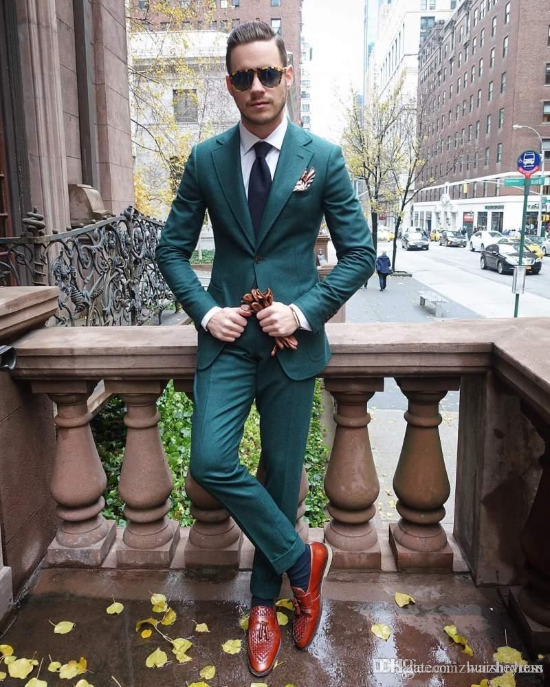 New Arrival Cheap Hunter Green Men Suit For Wedding Two Pieces Groomsmen Tuxedos Custom Made Formal Prom Party Suits (Jacket+Pants+Tie)