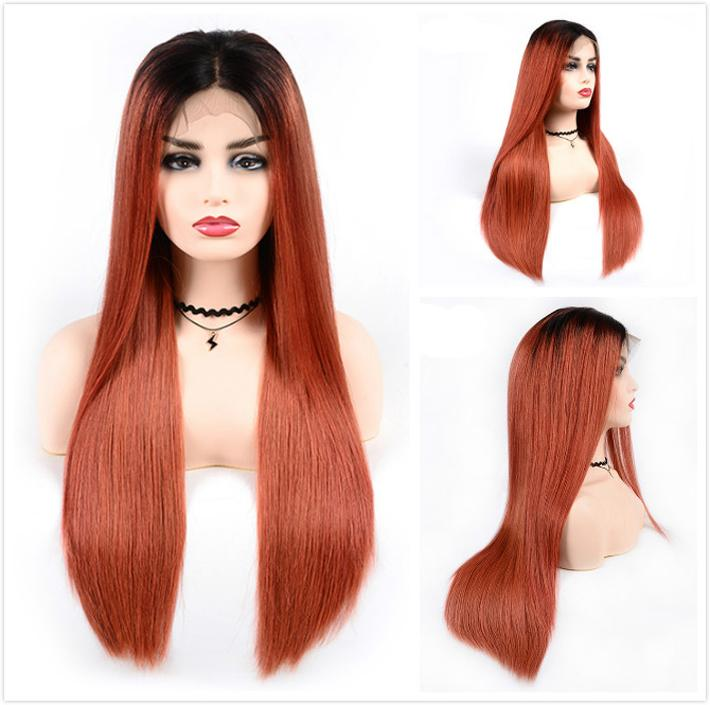 Fashion Orange Human Hair Lace Front Wigs Colored Brazilian Straight Braided Wig For Black Women Cheap T1B/350 Ombre Glueless Full Lace Wig