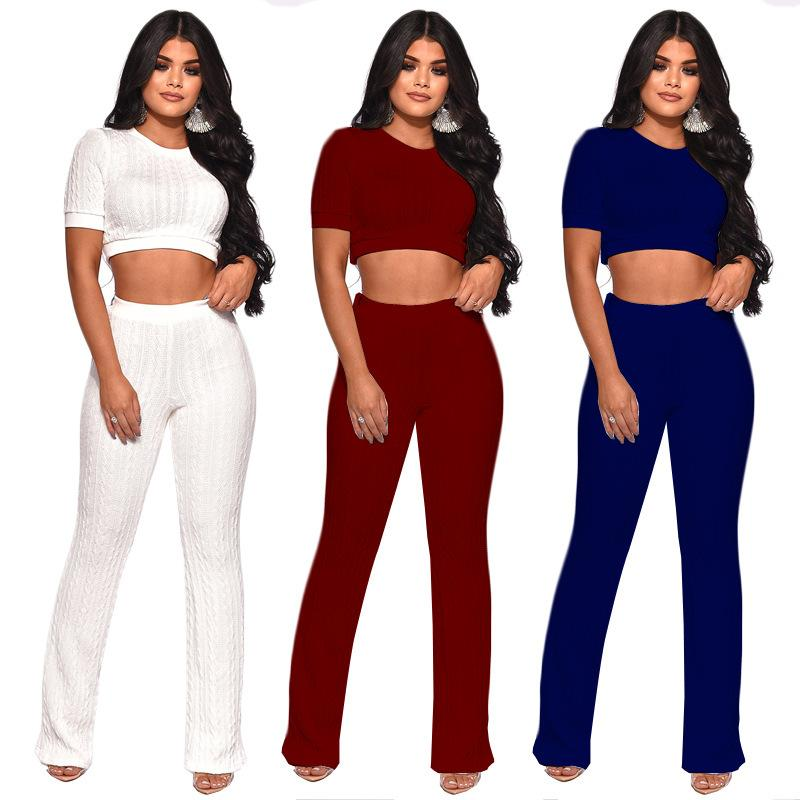 b6a59de340 Women Knits Casual 2 Piece Sets 2018 Solid Short Sleeves Crop Top + Long Wide  Leg Pant Suits Fashion Two Piece Pants Sports Active Outfits