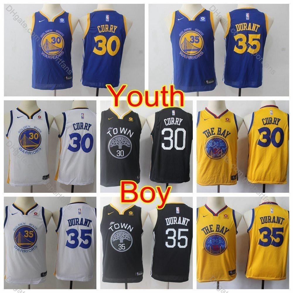 new concept cde55 3c6f8 2019 Kids Stephen Curry Jersey Golden #30 Boys Kevin Durant Jerseys #35  Basketball Jerseys Youth Stephen Curry Stitched Shirts S-XL