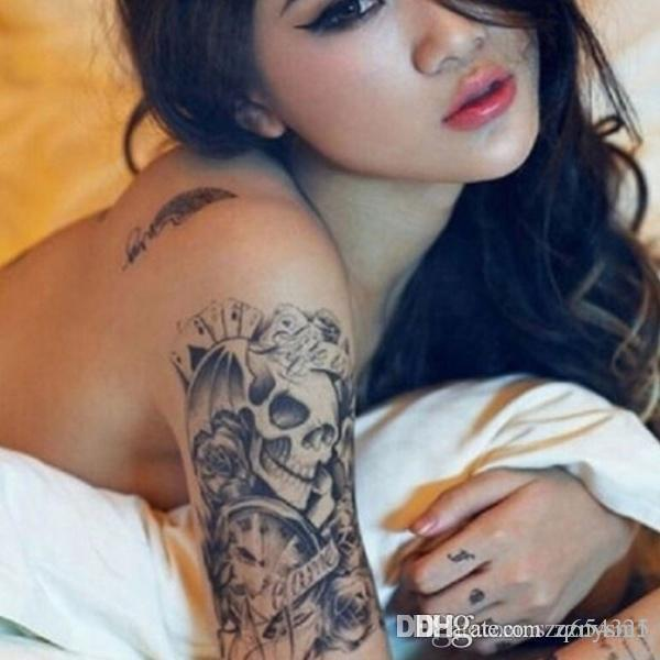 Black Fashion Temporary Tattoos Skull Rose Arm Body Art Transfer Sticker Fake Tatoo Waterproof Summer bikini decoration