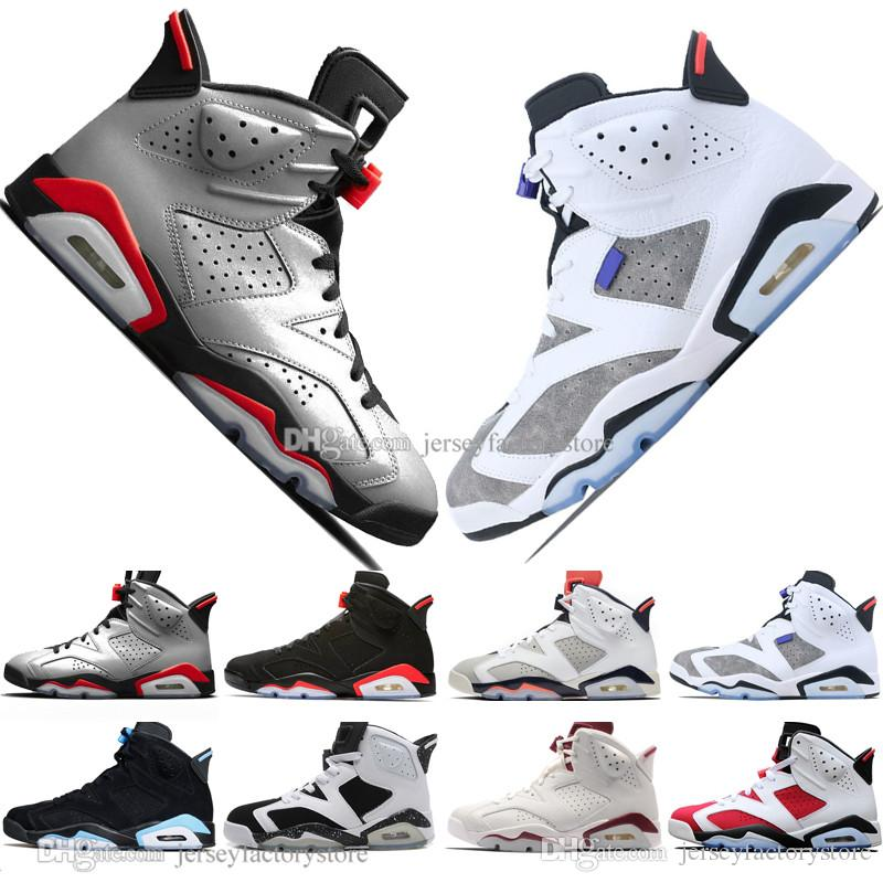 1642f48caaa Hot Cheap 2019 Infrared Bred VI 6 6s Mens Basketball Shoes 3M Reflective  Flint Sport Blue White Cement Carmine Men Sneaker Designer Trainers Latest  Shoes ...
