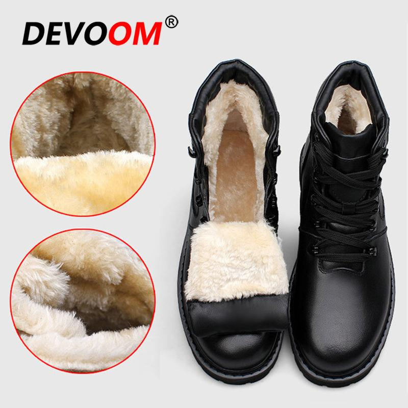 31fa6b0a215 Genuine Leather Mens Winter Shoes 2018 Waterproof Snow Boots Men Black  Sneakers Outdoor Fur Boots Fashion Work Shoes Big Size 47