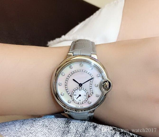 2019 QUARTZ diamond SILVER 36 MM CASE Gray LEATHER BELT fashion Women watch wholesale luxury new Stainless steel Womens watches