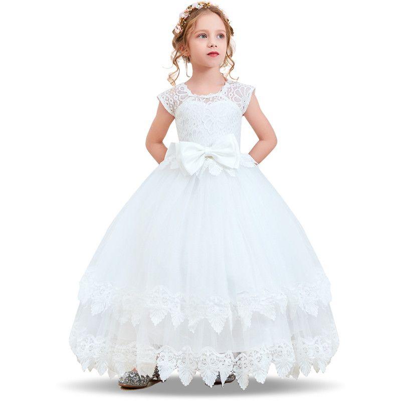 003478b1e Compre Vestido De Novia De Niña De Flores Vestidos De Niños Para Niñas  Fiesta De Graduación Vestidos De Niña Arco De Encaje Niños Niñas  Adolescentes Vestido ...