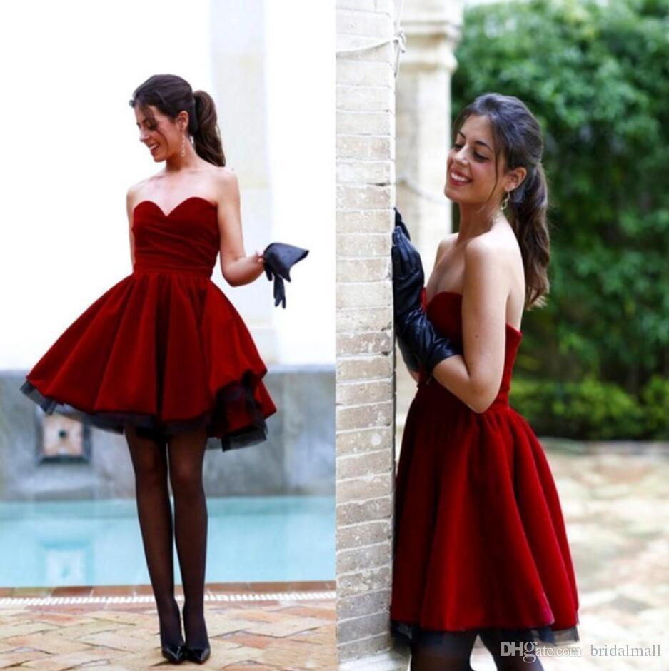 Compre De Vestidos Zipper V 2019 16 Vino Terciopelo Cortos Fiesta Cuello Up Vestido Back Formales Con Graduación Rojo En Sweet EqrExWw57