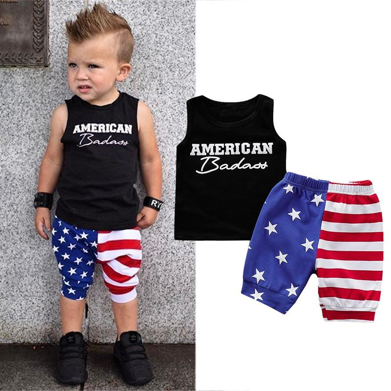 2Pcs/Set Summer Baby Boy Adorable Letter Print Sleeveless Vest Tops Star Stripe Pattern Shorts Casual Outfits