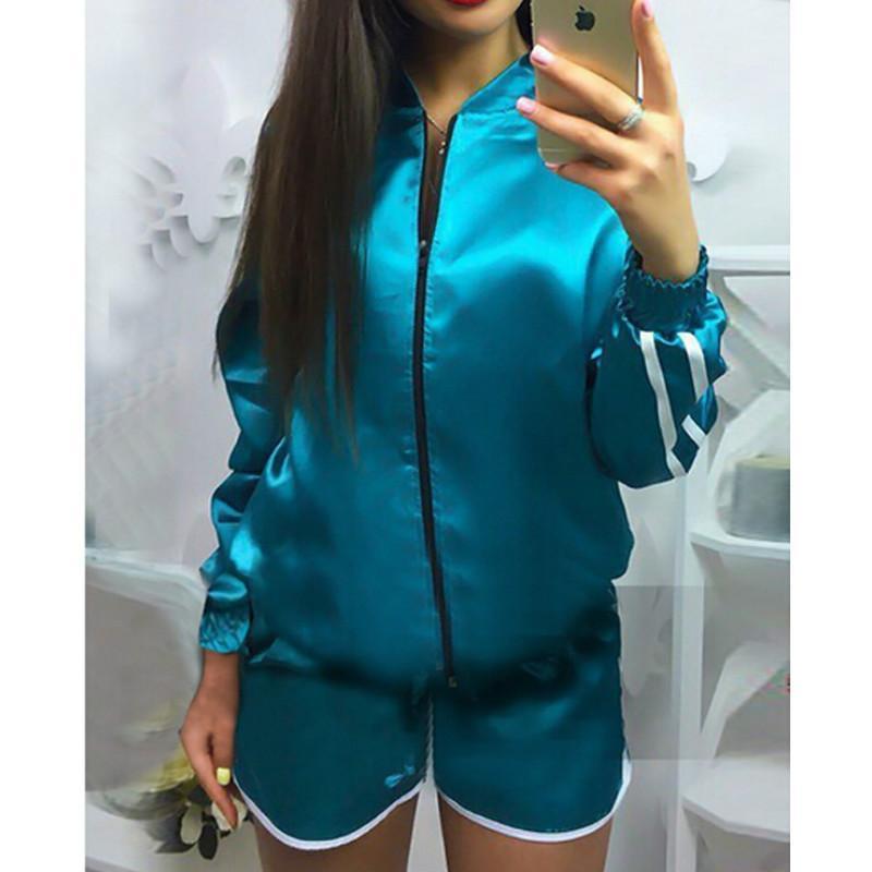 hirigin Kadınlar Spor Sportwear Casual Eşofman Casual Ceket Coat Şort Sıcak Pantolon