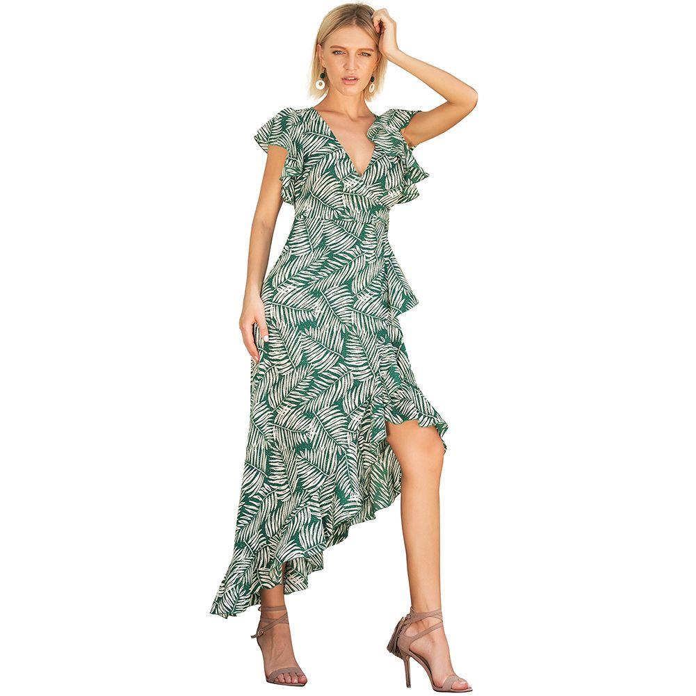 9e80ec9875ff 2019 Summer V Neck Leaves Printed Maxi Dress With Sashes Floral Ruffles  Sleeve Asymmetrical Boho Long Dress Vestidos Sundress Ladies Black Dress  Summer Lace ...