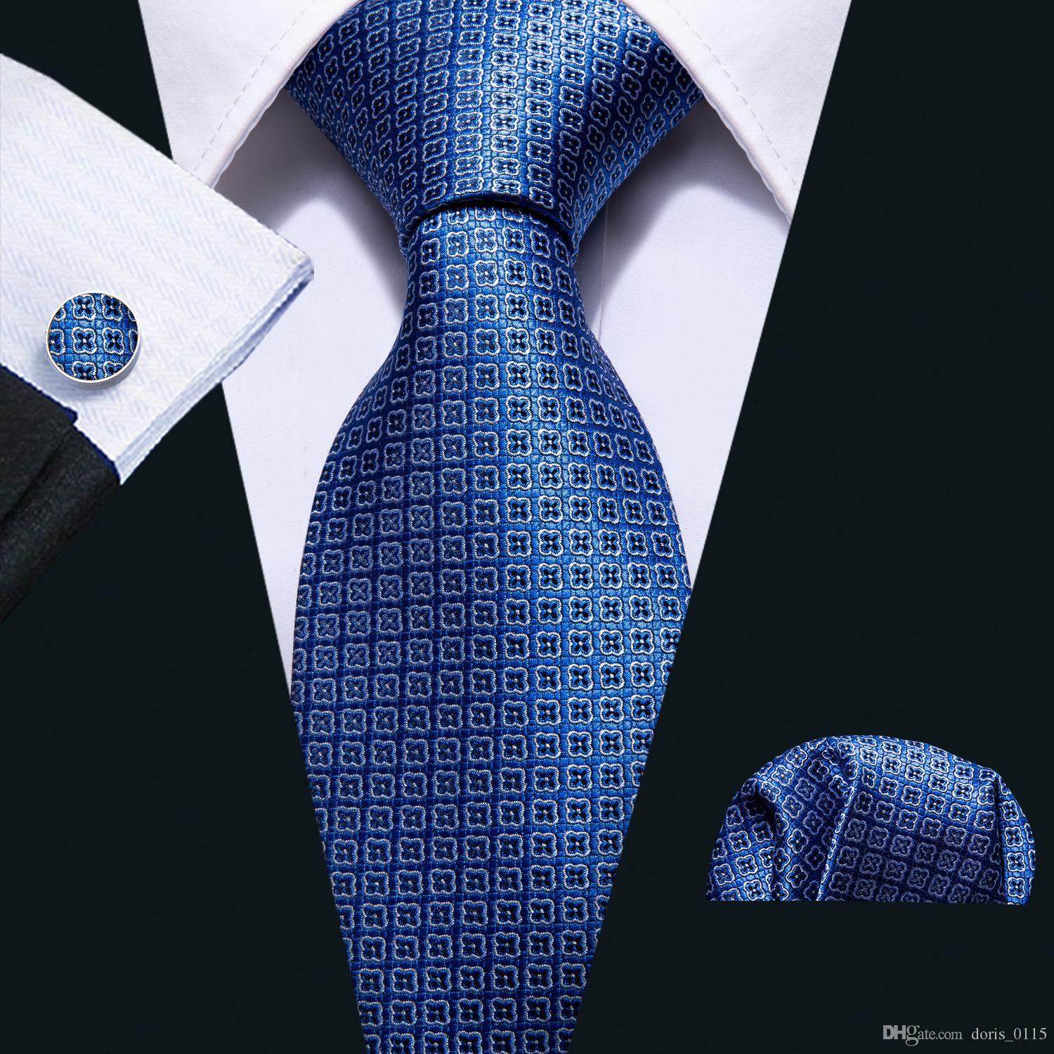 63e0e7e5e115 2019 Hi Tie Blue Floral Ties Set Classic Fashion Men'S 100% Jacquard ...