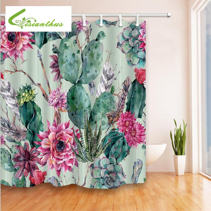 Cactus Flower Green Plant Shower Curtain Waterproof Mildewproof Bathroom Polyester Thickened Products With Hook C18112201 UK 2019 From