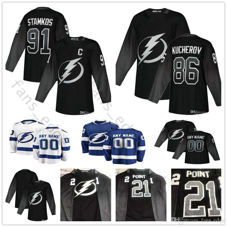 the best attitude 0e5bf bc703 Custom 2019 New Black Third Tampa Bay Lightning Hockey 27 Ryan McDonagh 77  Victor Hedman 24 Ryan Callahan 88 Andrei Vasilevskiy Jerseys