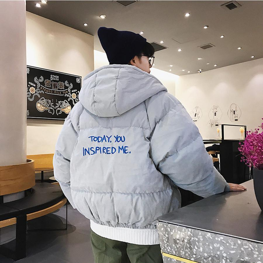 Loose Casual Winter Parka Jacket Thick Printed Bubble Coat Streetwear Parkas Veste Homme Hiver Men Clothing 50nx66