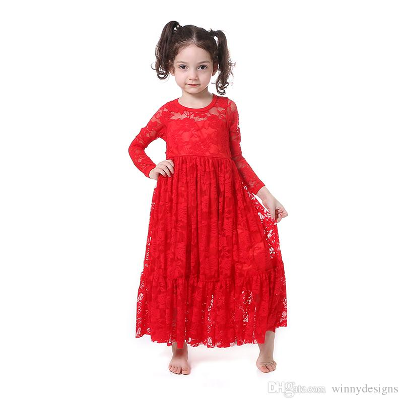94f2e9127f770 Wholesale Boutique Kids Clothing Baby Girl Lace Long Sleeve Maxi Frocks  Design Children Princess Dresses in Wedding Party