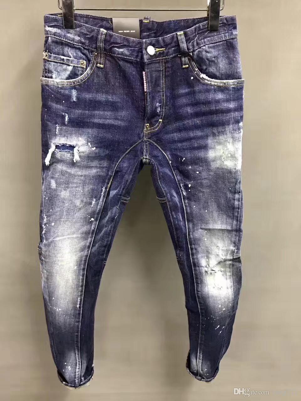 0854c1d8cf9ed7 Acquista 2019 Moda Uomo Denim Biker Jean Ricamo Pantaloni Holes Casual  Jeans Button Pants D2 Pantaloni Lunghi 1622 A $40.61 Dal Long721 |  DHgate.Com