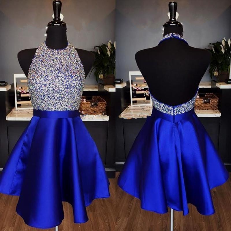 a5d8753d6fa Sparkly Halter Short Royal Blue Homecoming Dress Knee Length Low Back Short  Prom Dress With Crystals Pretty Homecoming Dresses Purple Homecoming Dress  From ...