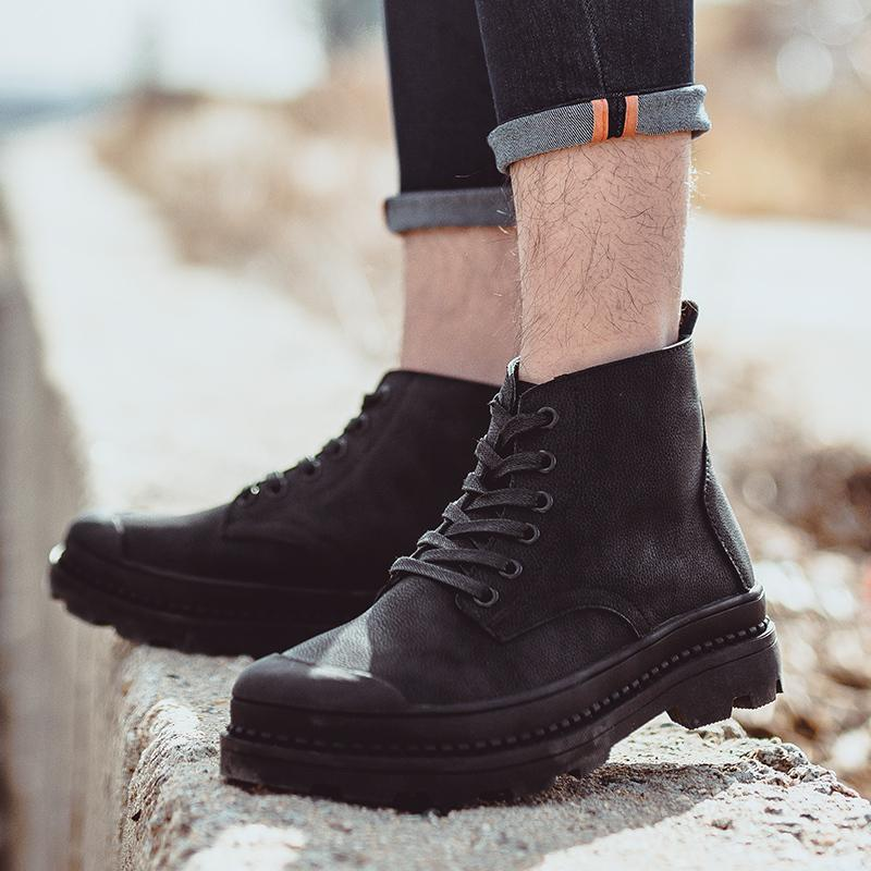 0b9e3e8c7e39 genuine Leather Men Boots winter fur warm Man Fashion High-top ankle boots  Shoes snow Boot Men's outdoor Shoe Work k5