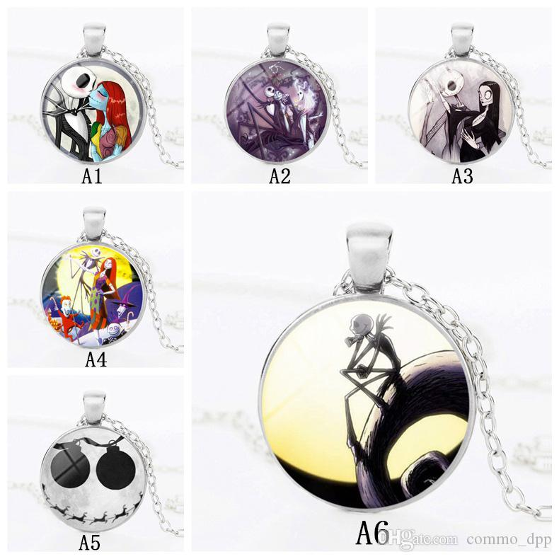 Fashion Christmas Halloween Nightmare Before necklaces For Women Men Glass Cabochon Pendant chains Fashion Jewelry Gift