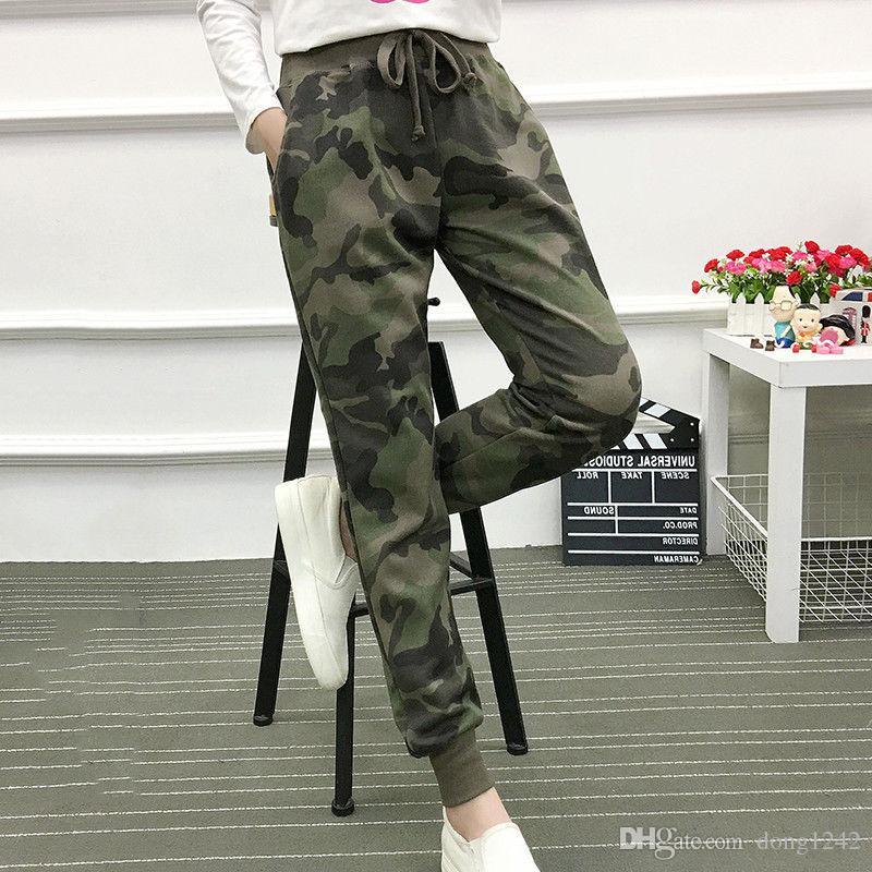 Compre Pantalones De Chándal De Camuflaje Con Cordón Cintura Elástica Para Mujer  Pantalones De Chándal Camuflaje A  44.22 Del Dong1242  0e11bc7d4ef