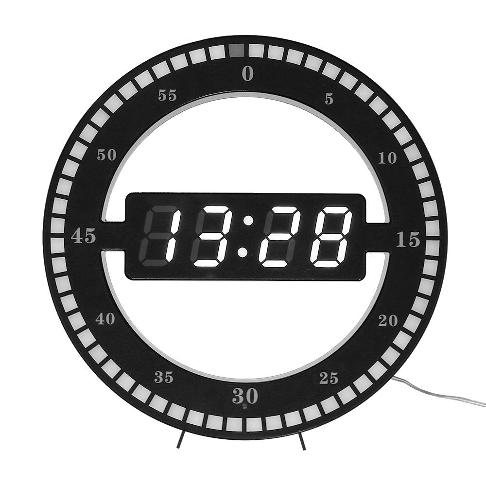 Circular Photoreceptive LED Digital Wall Clock Modern Design Dual-use  Dimming Digital Clocks For Home Decoration EU/US PLUG